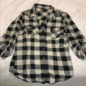 Guess black and white flannel shirt